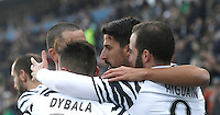 Calcio, Serie A: Sassuolo vs Juventus. Reggio Emilia, Mapei Stadium, 29 gennaio 2017. <br /> Juventus' Gonzalo Higuain, right, celebrates with teammates, from left, Leonardo Bonucci, Paulo Dybala and Sami Khedira, after scoring during the Italian Serie A football match between Sassuolo and Juventus at Reggio Emilia's Mapei stadium, 29 January 2017.<br /> UPDATE IMAGES PRESS/Isabella Bonotto