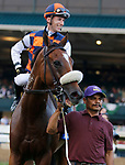 """October 09, 2021 : #3 In Love (BRZ) and jockey ALex Achard win the 36th Running of The Keeneland Turf Mile Grade 1 $750,000 """"Win You're In Breeders' Cup Mile Division"""" for owner Bonne CHance Farm and Stud R D and trainer Paulo Lobo at Keeneland in Lexington, KY on October 09, 2021.  Candice Chavez/ESW/CSM"""