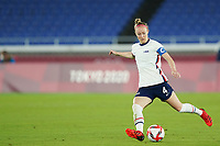 YOKOHAMA, JAPAN - JULY 30: Becky Sauerbrunn #4 of the United States shoots the ball during a game between Netherlands and USWNT at International Stadium Yokohama on July 30, 2021 in Yokohama, Japan.
