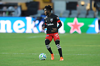 WASHINGTON, DC - MARCH 07: Oniel Fisher #91 of D.C. United moves the ball during a game between Inter Miami CF and D.C. United at Audi Field on March 07, 2020 in Washington, DC.