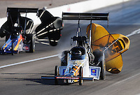 Apr. 4, 2009; Las Vegas, NV, USA: NHRA top fuel dragster driver Terry Haddock during qualifying for the Summitracing.com Nationals at The Strip in Las Vegas. Mandatory Credit: Mark J. Rebilas-