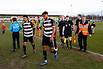 Wilson Kneeshaw and Romal Palmer of Darlington leave the pitch followed by Referee Aaron Bannister. Darlington 1883 v Southport, National League North, 16th February 2019. The reborn Darlington 1883 share a ground with the town's Rugby Union club. <br />