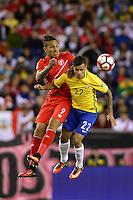 Action photo during the match Brasil vs Peru at Gillette Stadium Copa America Centenario 2016. ---Foto  de accion durante el partido Brasil vs Peru , En el Estadio Gillette Partido Correspondiante al Grupo - B -  de la Copa America Centenario USA 2016, en la foto: (i)-(d) Paolo Guerrero, Coutinho <br /> <br /> -- 12/06/2016/MEXSPORT/Adrian Macias.