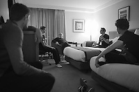 team meeting<br /> <br /> 2013 Tour of Britain<br /> hotel Crowne Plaza Heathrow after stage 6