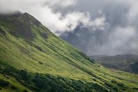 Summer rains move through Hatcher's Pass Alaska.