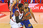 Turkish Airlines Euroleague 2020/2021. <br /> Regular Season-Round 9.<br /> FC Barcelona vs Olympiacos Piraeus: 88-96.<br /> Livio Jean-Charles vs Nicola Mirotic.