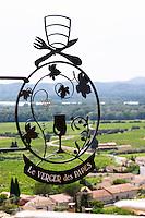 wrought iron sign restaurant verger des papes chateauneuf du pape rhone france