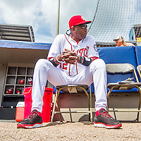 13 March 2016: Washington Nationals Manager Dusty Baker waits for the start of play prior to a pre-season Spring Training game against the St. Louis Cardinals at Space Coast Stadium in Viera, Florida. The teams played to a 4-4 draw in Grapefruit League play. Mandatory Credit: Ed Wolfstein Photo *** RAW (NEF) Image File Available ***