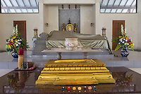 Borobudur, Java, Indonesia.  Mendut Buddhist Monastery.  Prayer Room for Visitors to Offer Homage to the Buddha.
