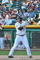 Roger Kieschnick (33) of the Salt Lake Bees at bat against the Fresno Grizzlies in Pacific Coast League action at Smith's Ballpark on June 13, 2015 in Salt Lake City, Utah.  (Stephen Smith/Four Seam Images)