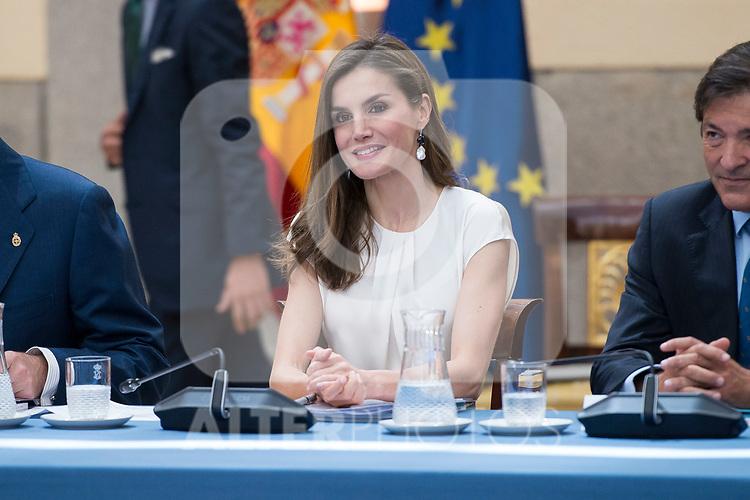 Queen Letizia attends the meeting of the members of the patronage of the Princesa de Asturias foundation at El Pardo Palace in Madrid, June 16, 2017. Spain.<br /> (ALTERPHOTOS/BorjaB.Hojas)