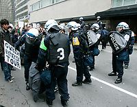 Montreal (Qc) CANADA -Oct 22 2009 - POlice arrest  Protest against George W Bush speech at The Queen ElizAbeth Hotel