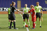 referee Viki De Cremer with Tine De Caigny (6) of Anderlecht and Jana Simons (8) of Woluwe pictured during a female soccer game between RSC Anderlecht Dames and White Star Woluwe on the 18 th and last matchday before the play offs of the 2020 - 2021 season of Belgian Womens Super League , saturday 27 th of March 2021  in Brussels , Belgium . PHOTO SPORTPIX.BE | SPP | DIRK VUYLSTEKE