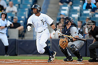 Tampa Yankees second baseman Angelo Gumbs #13 during a game against the Lakeland Flying Tigers at Steinbrenner Field on April 6, 2013 in Tampa, Florida.  Lakeland defeated Tampa 8-3.  (Mike Janes/Four Seam Images)
