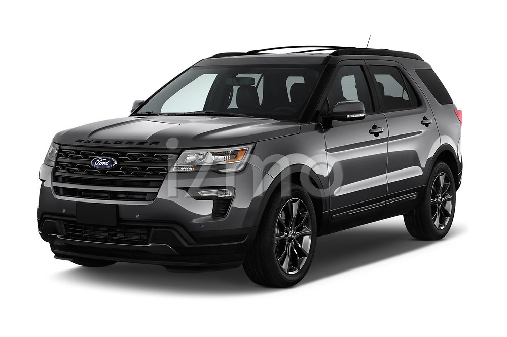 2018 Ford Explorer XLT 5 Door SUV angular front stock photos of front three quarter view