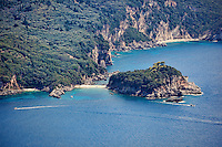 The isthmus of Limni beach at Corfu, Greece