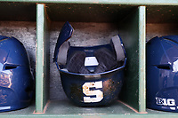 CARY, NC - FEBRUARY 23: Penn State University batting helmet during a game between Wagner and Penn State at Coleman Field at USA Baseball National Training Complex on February 23, 2020 in Cary, North Carolina.