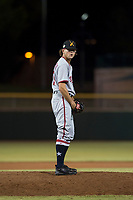 Salt River Rafters relief pitcher Taylor Guilbeau (69), of the Washington Nationals organization, gets ready to deliver a pitch during an Arizona Fall League game against the Scottsdale Scorpions at Scottsdale Stadium on October 12, 2018 in Scottsdale, Arizona. Scottsdale defeated Salt River 6-2. (Zachary Lucy/Four Seam Images)