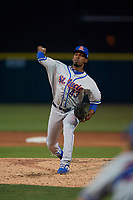 St. Lucie Mets relief pitcher Carlos Hernandez (43) during a Florida State League game against the Lakeland Flying Tigers on April 24, 2019 at Publix Field at Joker Marchant Stadium in Lakeland, Florida.  Lakeland defeated St. Lucie 10-4.  (Mike Janes/Four Seam Images)