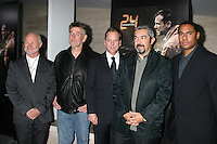 """Rodney Charters, Michael Klick, Kiefer Sutherland, Jon Cassar, and Kelsey McNeal  arriving at a photo exhibit featuring the photos taken during the production of """"24:  Redemption - Captured in Africa""""  , Exhibit at the Paley Center for Media in Beverly Hills, CA on .November 10, 2008.©2008 Kathy Hutchins / Hutchins Photo...                . ."""