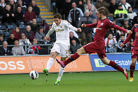 Saturday 2nd March 2013<br /> Pictured: Angel Rangel (L).<br /> Re: Barclays Premier Leaguel, Swansea  v Newcastle at the Liberty Stadium in Swansea.