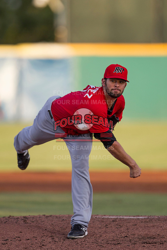 Frisco Roughriders pitcher Nick Martinez (31) follows through with his pitch in the Texas League baseball game against the San Antonio Missions on August 22, 2013 at the Nelson Wolff Stadium in San Antonio, Texas. Frisco defeated San Antonio 2-1. (Andrew Woolley/Four Seam Images)