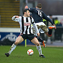 :: DUNFERMLINE'S AUSTIN MCCANN IS BOOKED AFTER THIS FOUL ON JACK COMPTON ::