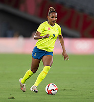 TOKYO, JAPAN - JULY 21: Madeln Janogy #7 of Sweden dribbles during a game between Sweden and USWNT at Tokyo Stadium on July 21, 2021 in Tokyo, Japan.