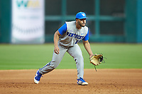 Kentucky Wildcats third baseman Alex Rodriguez (19) on defense against the Houston Cougars in game two of the 2018 Shriners Hospitals for Children College Classic at Minute Maid Park on March 2, 2018 in Houston, Texas.  The Wildcats defeated the Cougars 14-2 in 7 innings.   (Brian Westerholt/Four Seam Images)