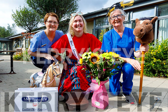 The staff of the Tralee Community Nursing Unit ready to recreate the Listowel races for elderly residents at the Tralee Nursing Unit on Monday. L to r: Maura Lyons and Theresa Grimes and  Carmel Kelliher