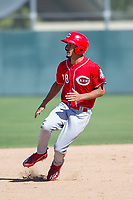 Cincinnati Reds outfielder Nathaniel Scantlin (28) rounds second base during an Instructional League game against the Oakland Athletics on September 29, 2017 at Lew Wolff Training Complex in Mesa, Arizona. (Zachary Lucy/Four Seam Images)