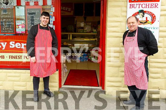 Listowel butcher Larry Buckley, right, with his assistant Billy Melville.
