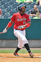 Kenny Vargas (35) of the New Britain Rock Cats bats during a game against the Altoona Curve at New Britain Stadium on July 23, 2014 in New Britain, Connecticut.  Altoona defeated New Britain 8-5. (Gregory Vasil/Four Seam Images)