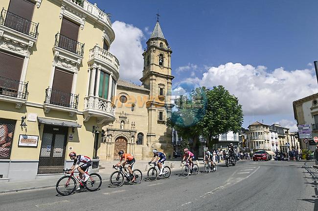 The breakaway featuring Magnus Cort Nielsen (DEN) EF Education-Nippo, Edward Planckaert (BEL) Alpecin-Fenix, Jonathan Lastra (ESP) Caja Rural-Seguros RGA, Joan Bou (ESP) Euskaltel-Euskadi and Harm Vanhoucke (BEL) Lotto Soudal during Stage 11 of La Vuelta d'Espana 2021, running 133.6km from Antequera to Valdepeñas de Jaén, Spain. 25th August 2021.     <br /> Picture: Unipublic/Charly Lopez | Cyclefile<br /> <br /> All photos usage must carry mandatory copyright credit (© Cyclefile | Charly Lopez/Unipublic)