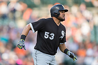 Melky Cabrera (53) of the Chicago White Sox runs down the first base line during the game against the Detroit Tigers at Comerica Park on June 2, 2017 in Detroit, Michigan.  The Tigers defeated the White Sox 15-5.  (Brian Westerholt/Four Seam Images)