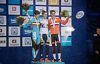 Elite Women's podium: <br /> 1/ Pauline Ferrand-Prevot (FRA)<br /> 2/ Sanne Cant (BEL)<br /> 3/ Marianne Vos (NLD)<br /> <br /> <br /> 2015 UCI World Championships Cyclocross <br /> Tabor, Czech Republic