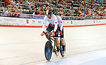 MILTON, ON, AUGUST 10, 2015. Cycling at the Velodrome. Canadian Gold medallists Daniel Chalifour & Alexandre Cloutier (BM).<br /> Photo: Dan Galbraith/Canadian Paralympic Committee