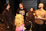 """Kevin Richardson from the Backstreet Boys backstage with the cast members Nick Kohn, Grace Choi and Michael Liscio Jr. of  """"Avenue Q""""  at the New World Stages on January 27, 2019 in New York City."""