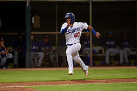 AZL Dodgers Mota Juan Zabala (60) runs home during an Arizona League game against the AZL Rangers at Camelback Ranch on June 18, 2019 in Glendale, Arizona. AZL Dodgers Mota defeated AZL Rangers 13-4. (Zachary Lucy/Four Seam Images)