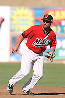 Mickey Wiswall #15 of the High Desert Mavericks during a game against the Stockton Ports at Stater Bros. Stadium on May 27, 2012 in Adelanto,California. High Desert defeated Stockton 6-5.(Larry Goren/Four Seam Images)