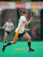 5 April 2008: University of Vermont Catamounts' Midfielder Sara Buxton, a Sophomore from Northfield, IL, in action against the University at Albany Great Danes at Moulton Winder Field, in Burlington, Vermont. With only seconds left in regulation time, the Catamounts rallied to defeat the visiting Danes 11-10 in America East conference play...Mandatory Photo Credit: Ed Wolfstein Photo