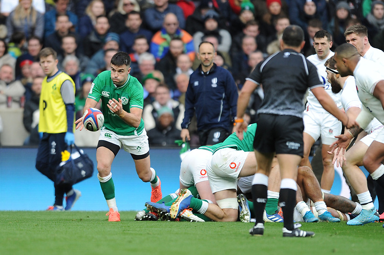 Conor Murray of Ireland passes during the Guinness Six Nations match between England and Ireland at Twickenham Stadium on Sunday 23rd February 2020 (Photo by Rob Munro/Stewart Communications)