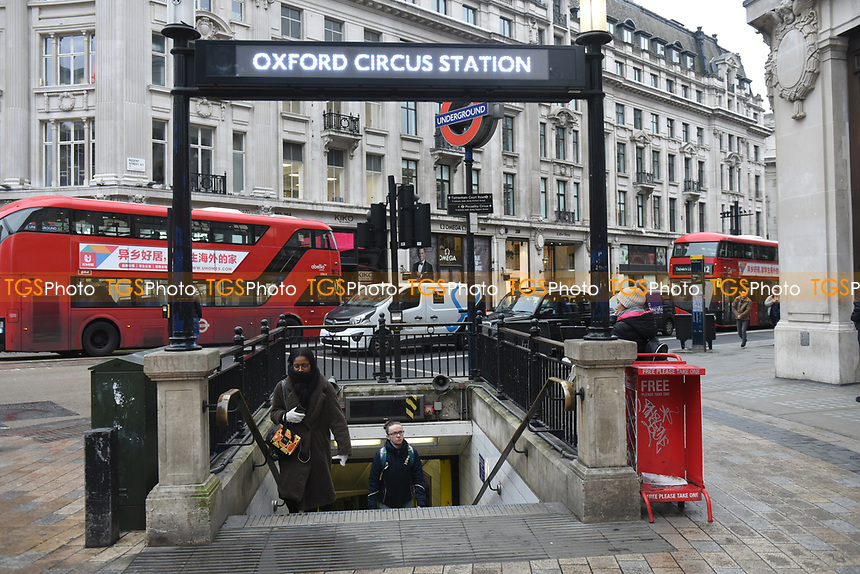 View of Oxford Circus underground station. The deserted streets show the severe effects of the COVID-19 epidemic on London on the morning of 19th March 2020