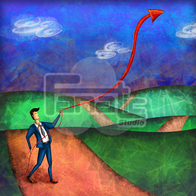 Illustrative image of businessman trying to achieve his goal