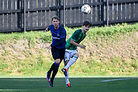 Zander Rushworth of the Wainuiomata AFC competes for the ball with Sam Mason-Smith of the Miramar Rangers during the Central League Football - Miramar Rangers AFC v Wainuiomata AFC at David Farrington Park, Wellington, New Zealand on Saturday 17 April 2021.<br /> Copyright photo: Masanori Udagawa /  www.photosport.nz