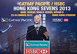 Mr John Slosar, Chief Executive of Cathay Pacific Airways speaks during the Cathay Pacific/HSBC Hong Kong Sevens 2013 Official Draw held at Hysan Place, Hong Kong on 21st February 2013. Photo Raf Sanchez / The Power of Sport Images