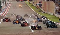 28th March 2021; Sakhir, Bahrain; F1 Grand Prix of Bahrain, Race Day;  Race start Max Verstappen NEL 33, Red Bull Racing Honda vor, Lewis Hamilton GBR 44, Mercedes-AMG Petronas Formula One Team, Valtteri Bottas FIN 77, Mercedes-AMG Petronas Formula One Team, Charles Leclerc MCO 16, Scuderia Ferrari Mission Winnow, Pierre Gasly FRA 10, Scuderia AlphaTauri Honda, Lando Norris GBR 4, McLaren F1 Team, Daniel Ricciardo AUS 3, McLaren F1 Team