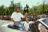 Montreal (Qc) CANADA - June 24 1992 File Photo -<br /> <br /> Pierre Bertrand on Quebec National Holliday Parade on Sherbrooke St East.<br /> <br /> -Photo (c)  Images Distribution