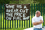 © Joel Goodman - 07973 332324 . 08/05/2011 .  Ellesmere Port, UK . Protesters outside Stanlow Oil Refinery . An attempted blockade of Stanlow Oil Refinery at Ellesmere Port , Cheshire , in protest at the price of fuel . Organiser Ian Charlesworth says that a 24 pence discount off the price of a litre of petrol is required to bring the UK in line with average European pricing and to keep British businesses competitive . Photo credit : Joel Goodman
