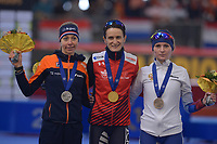 SPEEDSKATING: INZELL: Max Aicher Arena, 09-02-2019, ISU World Single Distances Speed Skating Championships, Podium 5000m Ladies, Esmee Visser (NED), Martina Sablikova (CZE), Natalia Voronina (RUS), ©photo Martin de Jong